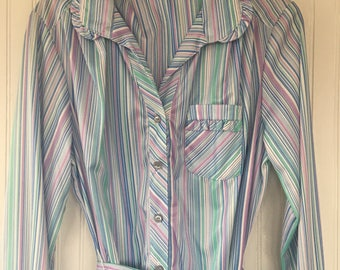 Vintage 70s Size L XL Pajama Style Pastel Blue Purple Green Striped PJ Dress Tunic Large Sexy Lingerie Inspired New Tags 1979 Seventies