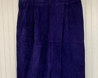 Vintage 90s Purple Suede Skirt Large 16 Evan Davies Leather Knee Length Biker L 34 waist pinup high waist
