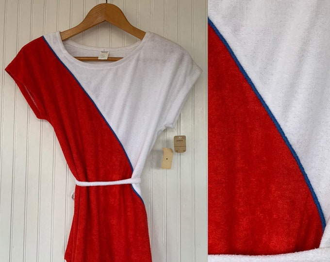 Vintage 80s S/M Red White Blue Terry Cloth Small Tunic Medium Tee Shirt Belt Deadstock Eighties Terrycloth Tennis Spring Summer