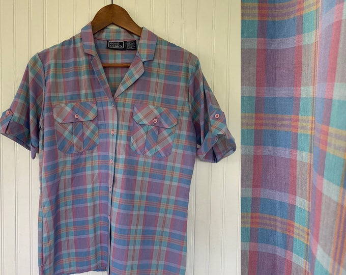 Vintage Deadstock 80s Blue Purple Pink Green Plaid Check Short Sleeve Top Size Medium M Med button Down Shirt Deadstock Western Summer Fall