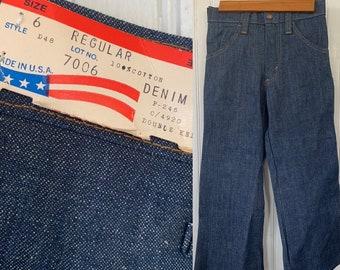 Vintage Deadstock 80s Kids Flare Denim Pants 6 Wide Leg Bell Bottoms Pockets Dark Blue Jeans 6T Toddler Elastic Waist Girls Boys NOS 70s