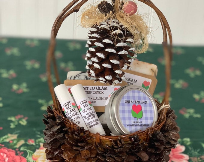 Holiday Gift Basket Grit to Glam All Natural Skincare Farm Catnip Soap Lip Skin Healing Winter Skin Psoriasis Eczema Acne Safe Vintage