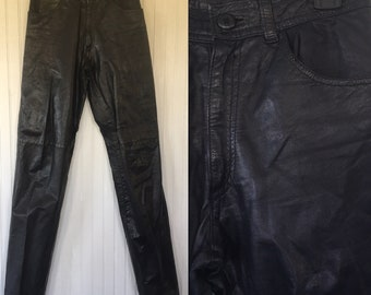 Vintage Size XS S Black Leather Pants High Waisted 26 25 27 Small Rare Western Biker Motorcycle Moto 80s 90s Sexy