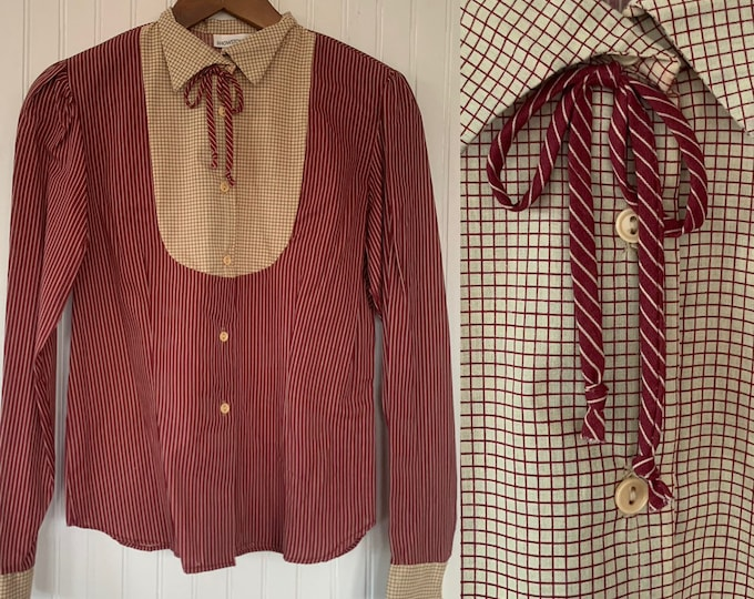 Vintage Deadstock 80s XS Maroon Red and Beige Striped Bow Neck Puff Sleeve Shirt Button Down Blouse Darts 32 Small Western Boho