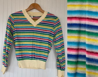 NWT Vintage 80s Rainbow Striped Shirt Sweater Small S Sm XS Long Sleeves Shirt Deadstock Top Valentines Vneck