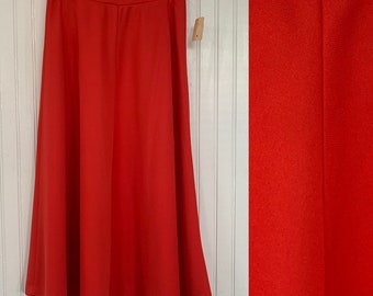 Vintage 80s Deadstock Red Skirt XS Below Knee Below Knee High Waisted 70s Boho Sheer 24 Waist NOS