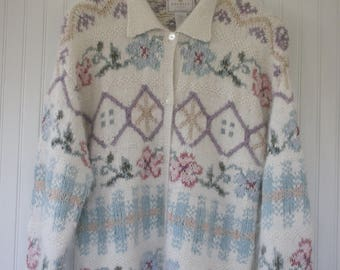 Vintage 90s Express Soft & Cozy Sweater Ivory with Floral Print Floral Medium Grunge Hand knitted Silk Angora cardigan button down
