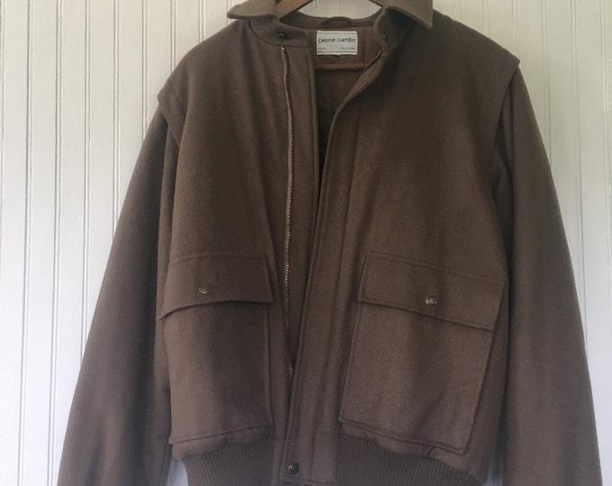 Vintage 80s Pierre Cardin Army Green Wool Bomber Jacket Mens Small Women's Medium Winter Coat Olive Lined Warm
