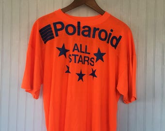 80s Vintage Polaroid All Stars Orange and Blue Tee Shirt One Size fits S M L T-Shirt VTG Great Condition Gift Rare Unique Camera