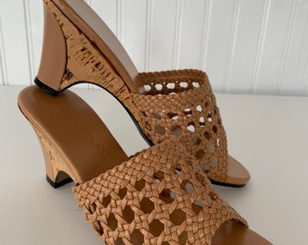 Vintage 70s Deadstock Size 6 Vegan Leather Sandals Nude Tan Woven Wedge Cork Heel Mint New Condition Spring Boho Shoes 80s 5.5