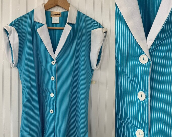 NWT 80s Vintage Turquoise Blue White Striped Sleeveless Top Size Large Button Down Shirt L LG Stripes Deadstock Western Hipster 70s Gift