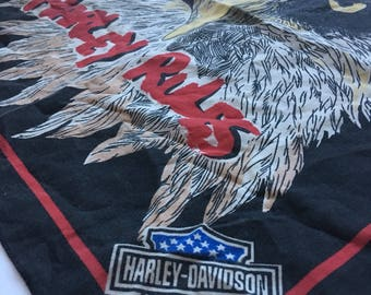 Vintage 80s Harley Davidson Eagle Patriotic Bandanna Road Worn True Biker Gear Unisex Moto Motorcycle HD Mens Womens Stocking Stuffer Gift