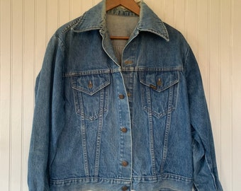Vintage 80s Roebucks Blue Jean Jacket Denim Coat Worn In Size Large L Med M LG Rare Eighties XL Grunge Sears