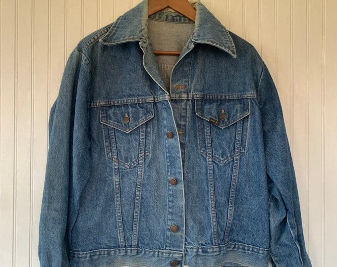 Vintage 80s Roebucks Blue Jean Jacket Denim Coat Worn In Size Large L Med M LG Rare Eighties XL Grunge Sears