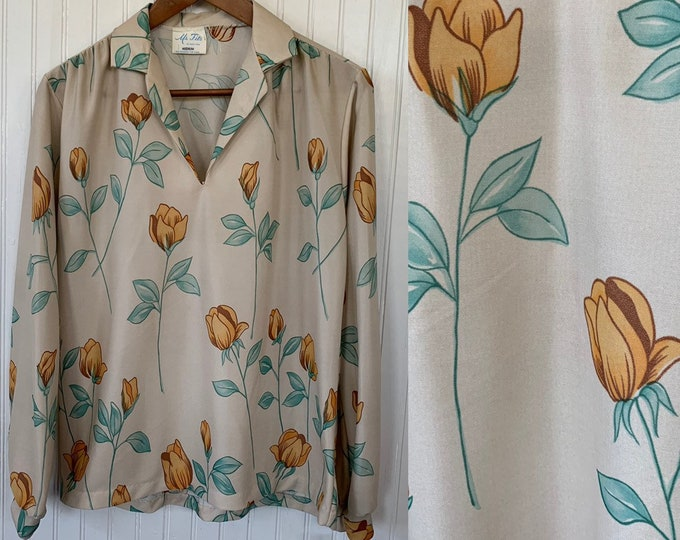 Vintage 80s Nude Beige Long Sleeve Floral Blouse Medium V-Neck Shirt 70s Boho Orange Yellow Tulip Poppy Flowers Med Ruched Shoulders M Top
