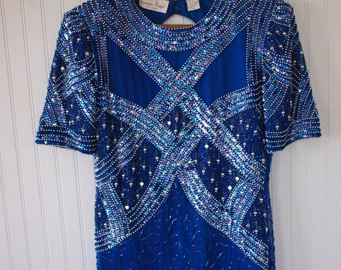 1980s Vintage Blue and Silver Sequined Beaded Party Dress Sexy Shiny Holiday Shiny and Fancy - Size M Medium Wedding