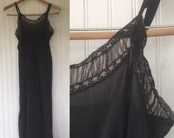 Sexy Vintage Black Slip Gorgeous Lace Nylon Size 36 Medium Med M Sheer Gift Bridal Lingerie Boudoir 50s 60s Vanity Fair Grunge Goth Dress