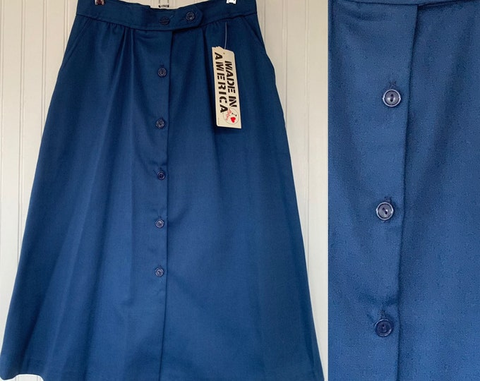 Vintage 80s Deadstock Blue Skirt Small XS Sm S 26 Waist Button Front Pockets Below Knee New Tags Below Knee High Waisted 70s