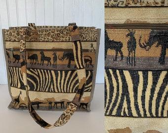 Vintage 90s Safari Animal Print Tote Bag Brown Black Purse Carryall Pockets Key Clip Festival Boho Leopard Zebra Giraffe