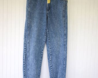 Vintage Early 90s Size 30 Major Damage High Waisted Tapered Leg Denim Blue Jeans parachute hip hop streetwear yellow 4 Small Baggy Nineties