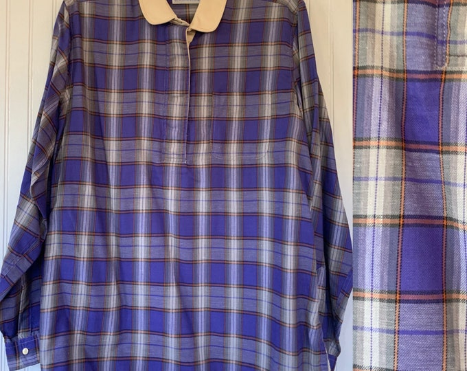 NWT Vintage 80s Large Plaid Flannel Long Sleeve Shirt 40 Top Purple Orange White Snap Down Shirt L M/L Med Deadstock Western Fall Amy Barr