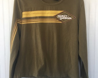 Vintage 90s Harley Davidson Long Sleeve Stripe Logo Tee Olive Green Size XL Fits s m l Top Shirt Nineties Biker HD