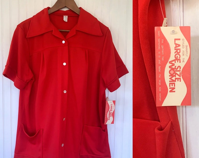 Vintage 80s XL Large Bright Red Short Sleeve Top Wide Collar Shirt Smock Pockets Button Down Eighties 46 XLarge Christmas 70s XXL Plus