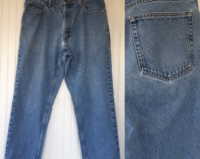 Vintage 90s LL Bean Denim Blue Jeans Worn Size womens 34 x 29 Large L High Waist high waisted Nineties Mom Jeans Classic Fit