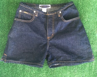 Vintage 90s High Waisted Denim Blue Jean Short Shorts Daisy Dukes Festival Grunge Size 1 Dark Wash XS 0 25 25 26 Nineties