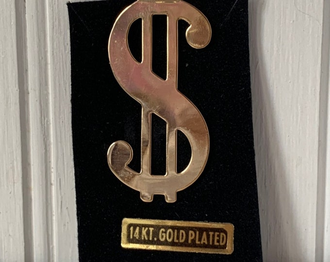 Vintage 90s Deadstock 14KT Gold plated dollar sign Money Clip Unisex Wallet Unique NOS Unworn 1980s Funky Hip Hop