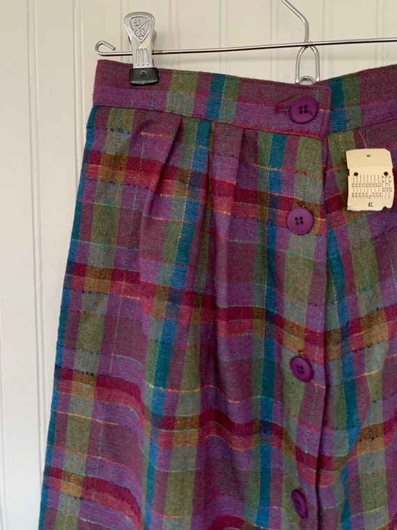 Vintage XS 80s Deadstock Plaid Skirt Purple Pink … - image 4