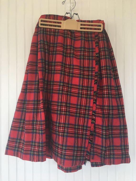a8945b0265 Vintage 70s XS XXS Red Plaid Tartan Wrap Skirt Kilt Handmade | Etsy