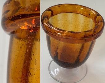 Deadstock Vintage 70s Amber Bubble Glass Vase Orange Clear Home Decor Planter Serving Dish Wedding Gifts NOS