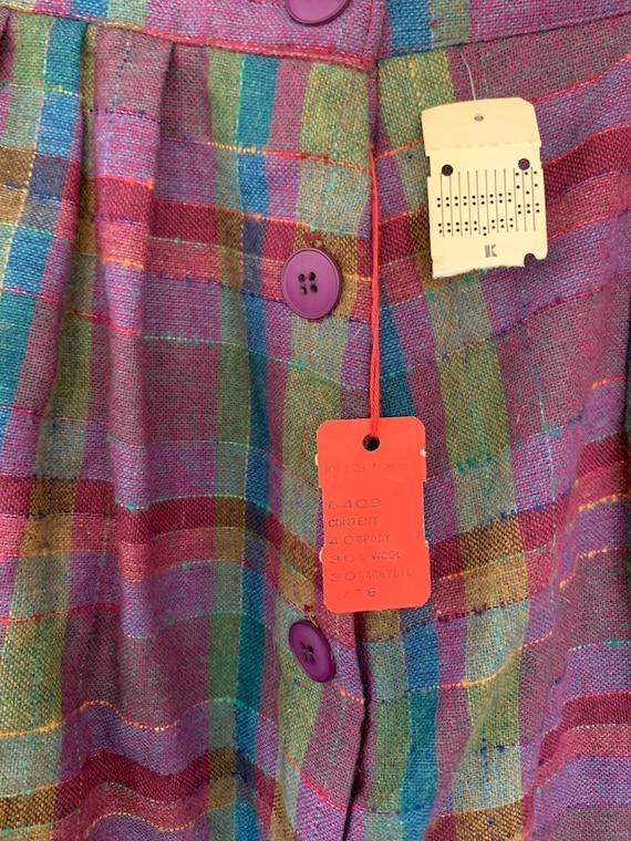 Vintage XS 80s Deadstock Plaid Skirt Purple Pink … - image 5