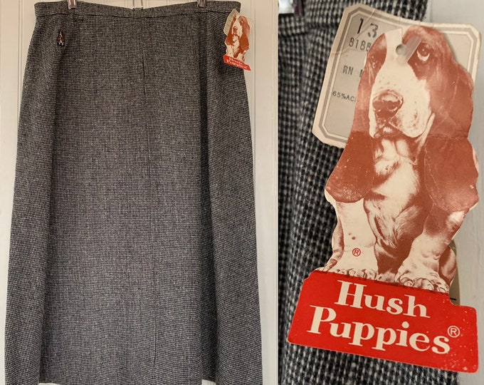 Vintage 80s Deadstock Hush Puppies Tweed Skirt Black White Size XS Small 24 Waist New With Original Tags Below Knee High Waisted