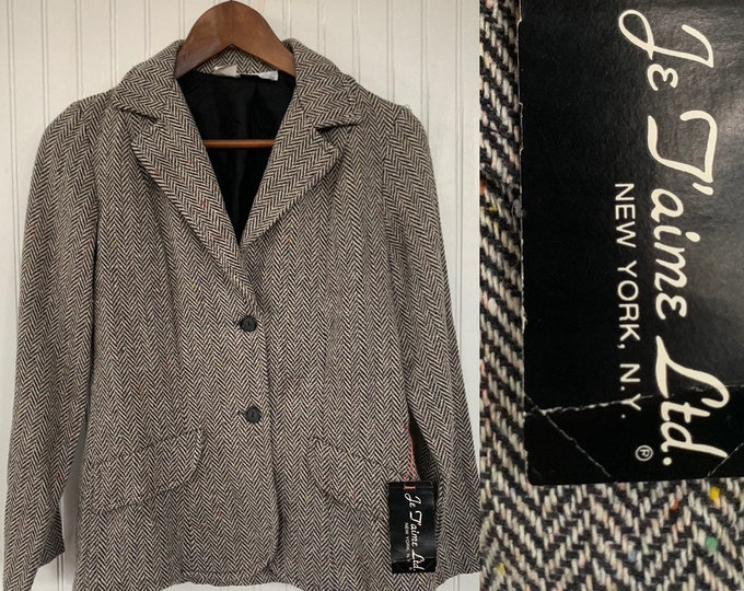 NWT Vintage 80s Blazer Tweed Jacket Black White Grey Res Green Blue Yellow Speckle NOS Deadstock Small xs s Spring XS/S 34