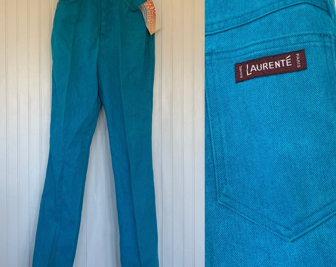 Vintage 70s XS Laurente Deadstock Turquoise Jeans High Waisted Denim Blue Jeans 25 waist NOS Size 24 0 2 Teal Blue Green bright x small 80s
