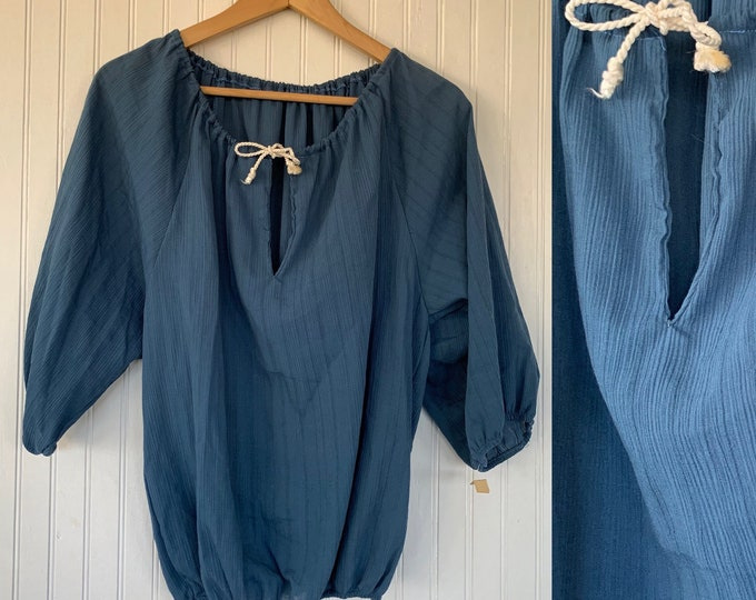 NWT Vintage Medium Blue Tie Neck Peasant Top Small S/M Deadstock 70s nos Fall Boho Tops Med Puff Sleeves 38 bow Boho Blouse
