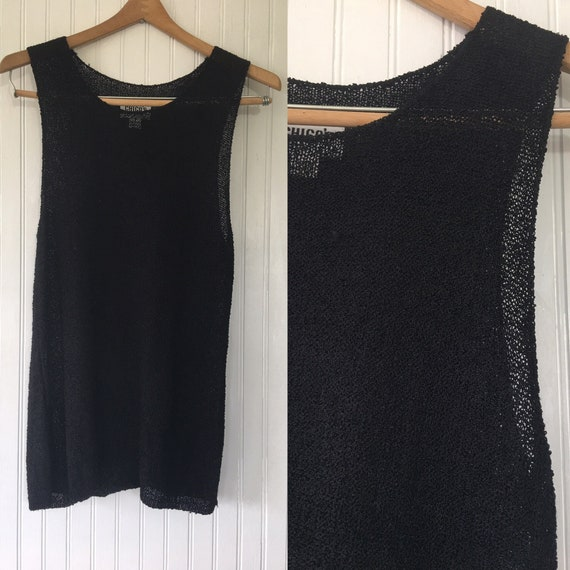 Vintage 90s Chicos Sheer Black Tunic Size 2 Mesh Vest Nineties Etsy