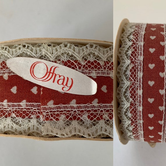 Deadstock Vintage 80s Offray Hearts Lace Ribbon Dark Red 12 Feet Full Roll Unused NOS Trim Eighties Decor Gifts