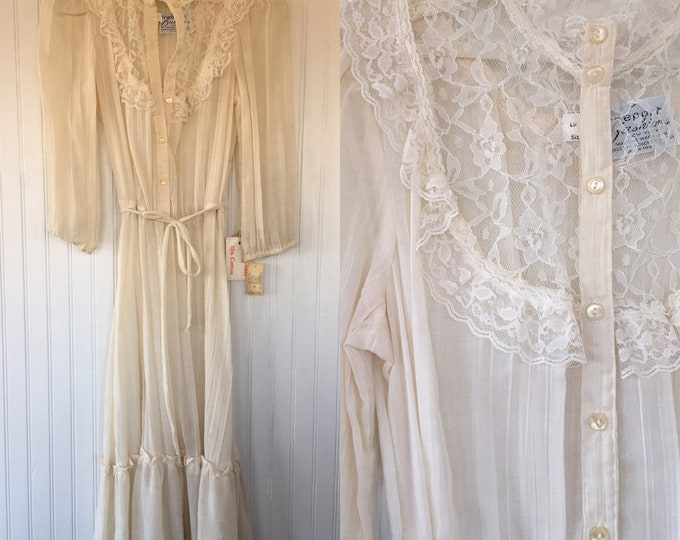 Vintage 70s Ivory Lace Sheer Floral Boho Dress Medium M L Large 8 9 10 11 80s Dead Stock NWT Wedding Spring Festival Victorian Puff Sleeve