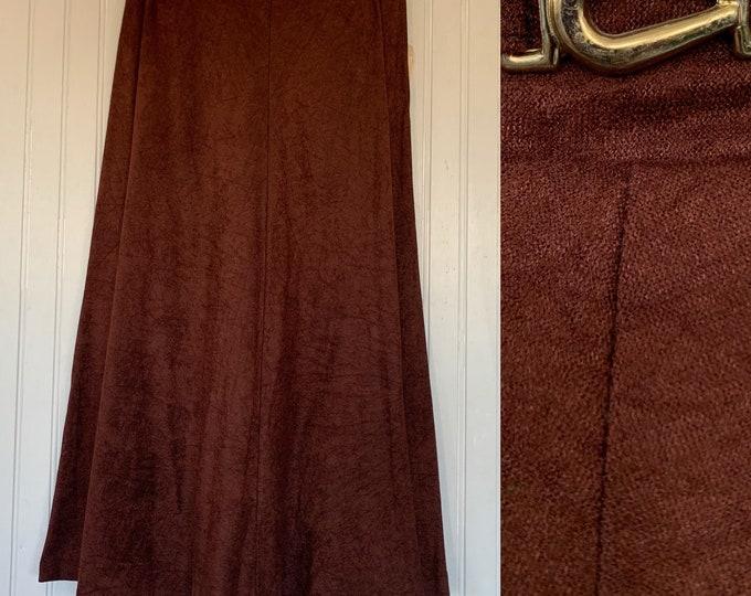 Vintage Deadstock 80s XS Skirt Brown High Waist Below Knee Elastic Waist 24 25 26 Small Boho 70s NOS NITO Microsuede Faux Suede