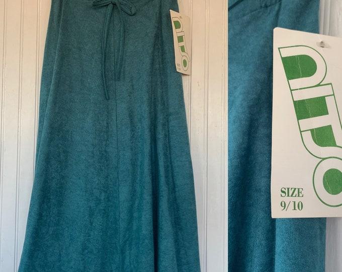 Vintage Deadstock XS Midi Skirt Dark Teal Blue Green High Waist Below Knee Elastic Waist Boho 70s 80s NOS NITO Microsuede Faux Suede