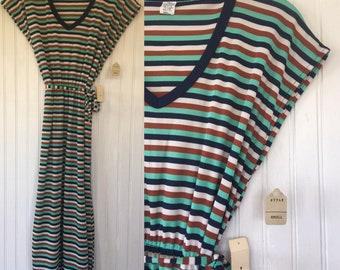 NWT Vintage 70s MaryJane Shirt Dress - Navy, Mint Green, Brown and White Stripe Ringer Tee Shirt Dress - V Neck Small Deadstock 1979 Striped
