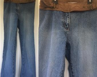 Vintage 90s Low Rise Size 8 Medium Denim Jeans Faux Suede Trim Vegan Leather Blue Jeans Flare Bell Bottoms Nineties 6 Med Pants y2k