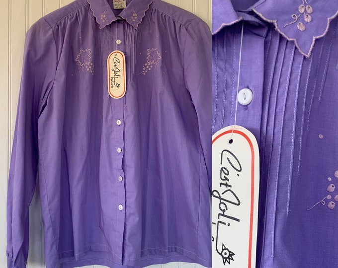 NWT 80s Vintage purple Button Down Long Sleeve Blouse scallop collar embroidered Button Down Shirt 70s Deadstock Boho M S/M Lavender nos