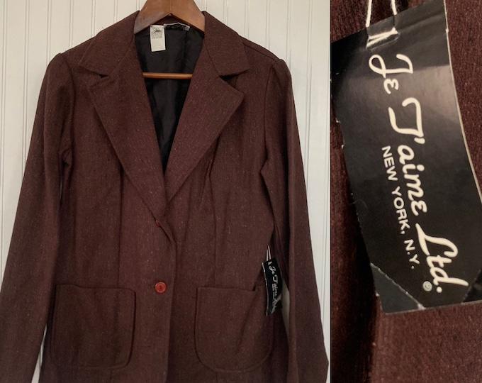 NWT Deadstock Vintage 80s Brown Blazer Tweed Jacket Pockets Small S S/M Medium Med 36 Wool Silk Blend Jacket