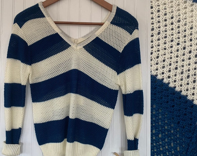 NWT Vintage 80s Navy Blue Off White Sheer Mesh Knit Striped Shirt Sweater Medium med M S/M Long Sleeve Shirts Deadstock Top Deep Vneck