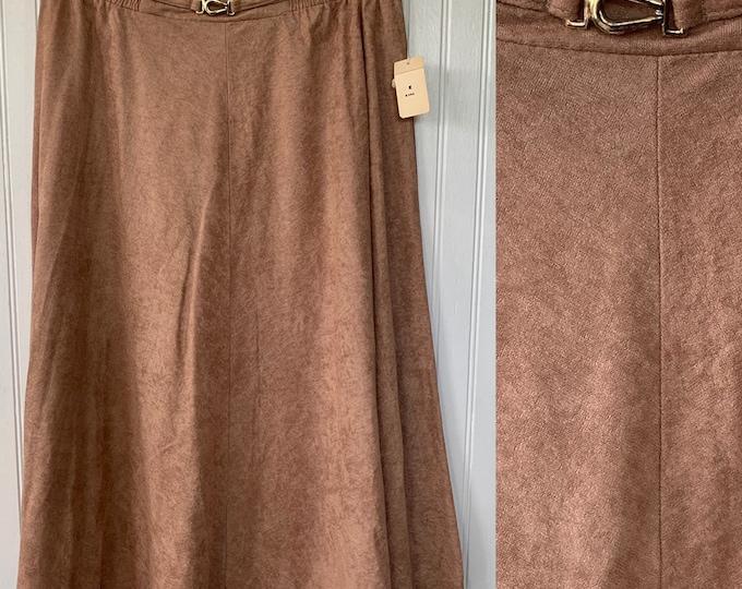 Vintage Deadstock 80s Skirt Beige High Waist Below Knee Elastic Waist Medium Large L M/L 8 9 10 Boho 70s NOS NITO Microsuede Faux Suede Nude