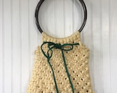 Vintage 70s Knit Bag Purse Unique Handbag Round Handle Knitted Handmade Festival Cream Off White Green Pink Lining